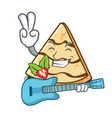 with guitar crepe mascot cartoon style vector image vector image