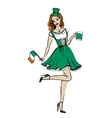 woman in St Patricks day costume vector image vector image