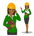 female architect wearing yellow safety helmet vector image