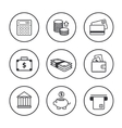 set of line black finance icons vector image