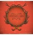 Vintage roses card with deer antlers vector image
