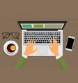 modern person hands working on the laptop sitting vector image