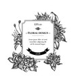 badge design with black and white african daisies vector image vector image