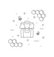 beekeeper and bees linear icon vector image