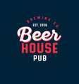beer house pub logo brewing company sign vector image vector image