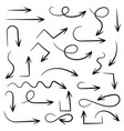 black arrows set of hand drawn icons vector image