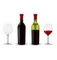 bottles red wine with glass vector image vector image