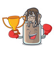 boxing winner milkshake mascot cartoon style vector image vector image