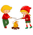 boy and girl with marshmallow vector image vector image