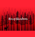 christmas card with winter forest vector image