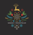 christmas deer merry christmas greeting card vector image vector image