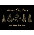 Christmas Tree Set Golden vector image vector image