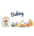 continuous line drawing baker set color vector image vector image