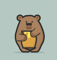 cute bear holding bee honey jar vector image vector image