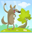 cute cartoon funny wolf vector image vector image