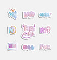 cute cartoon set fashion girly phrases vector image