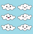 cute clouds with different emotions on blue sky vector image vector image
