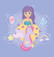 cute unicorn and mermaid design vector image vector image