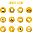 Flat colourful device icons with headphones vector image