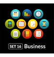 Flat icons set 16 - businnes collection vector image