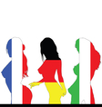 france and germany and italy girl flag color vector image vector image