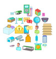 goods shed icons set cartoon style vector image vector image