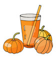 hand drawn glass with pumpkin juice and pumpkins vector image
