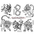 hand drawn set with heraldic beasts vector image