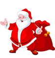 happy santa claus with sack of gifts vector image vector image