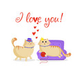 i love you greeting card with kawaii cartoon cats vector image vector image