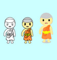 isolated monkcartoon stylesteps to draw a monk vector image vector image
