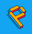 isometric p letter p 3d logo vector image