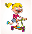 little girl riding scooter vector image vector image