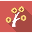 medical technology tree flat square icon with long vector image vector image