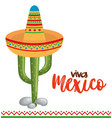 mexican culture cactus with hat vector image vector image