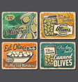 natural and canned olives posters vector image vector image