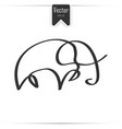 one line elephant design silhouette vector image vector image