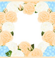 orange rose blue hydrangea and white ranunculus vector image vector image