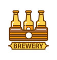 package of three beer bottles brewery symbol flat vector image vector image