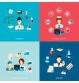Pharmacist icon flat set vector image