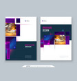 purple brochure cover template layout design vector image