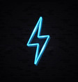 realistic isolated neon sign lightning bolt vector image