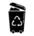 recycle trash can icon simple style vector image vector image