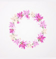 round floral frame flower lily blossom vector image