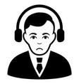 sad radio manager black icon vector image vector image
