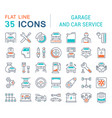 set line icons garage and car service vector image vector image