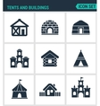 Set modern icons Tents and buildings tent vector image vector image