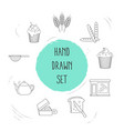 set of bakery icons line style symbols with yummy vector image