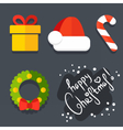 Set of Christmas icons in flat style vector image