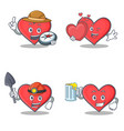 set of heart character with explorer miner love vector image vector image